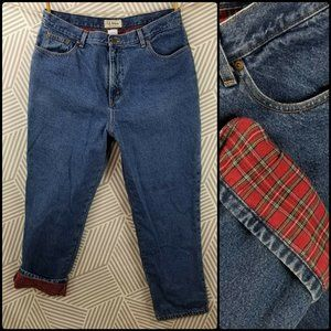 LL Bean 18 Flannel Lined Jeans Blue Denim plaid